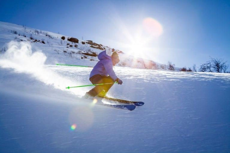 skiing on a mountain