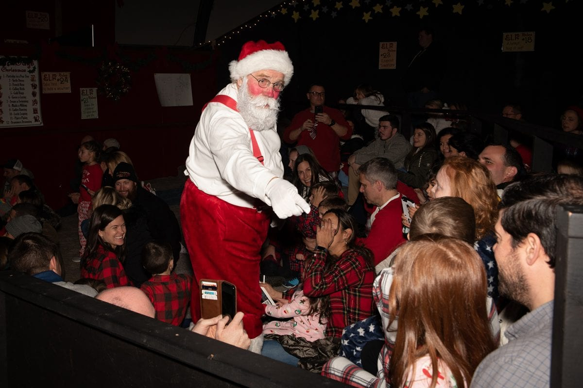 Santa in front of crowd